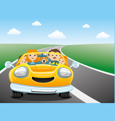 happy family in the yellow car vector image vector image