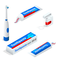 isometric set of toothpaste toothbrush dental vector image vector image