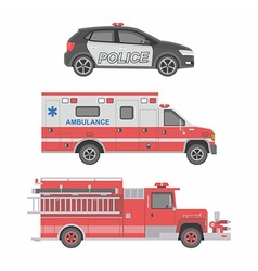 Police Ambulance car and Fire truck vector image vector image