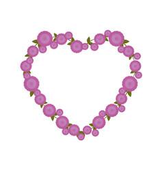 purple flowers heart shape ornate vector image