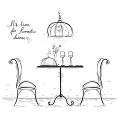 Romantic dinner sketchy isolated on white vector image