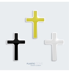 Set of crosses in a plastic style vector image vector image