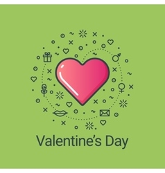 Valentines day green flat line heart vector image vector image