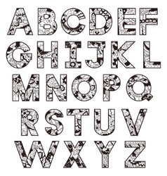 Black-and-white alphabet vector image vector image