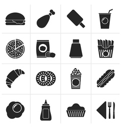 Black fast food and drink icons vector