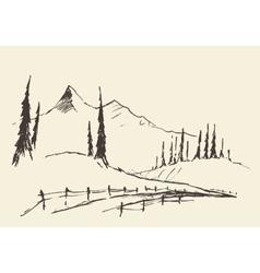 Drawn landscape hills rural road sketch vector image vector image