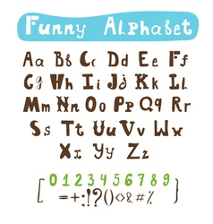 Funny alphabet Hand drawn calligraphic font ABC vector image