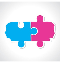 Male and female face with puzzle pieces vector image