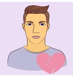 Man with broken heart vector image vector image