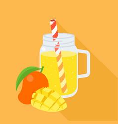 mango smoothie in mason jar flat design vector image