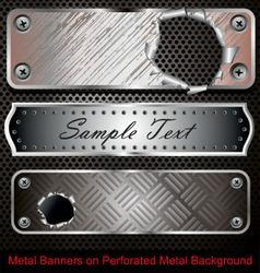 metal banners vector image vector image