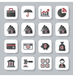 Set of flat modern bankig web icons vector image