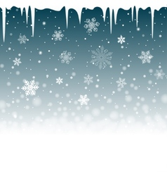 Christmas snowy background with icicles vector image vector image