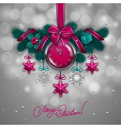 New Years background - a garland of fir branches vector image vector image
