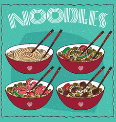 set of four chinese noodle soups vector image