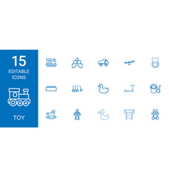 15 toy icons vector