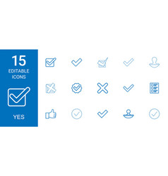 15 yes icons vector