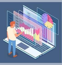 3d laptop business statistics visual vector