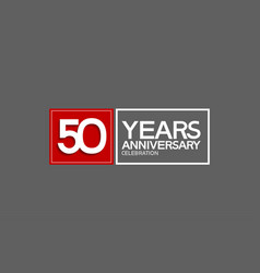 50 years anniversary in square with white and red vector