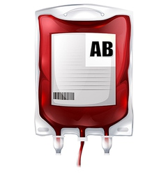 A blood bag with type AB blood vector