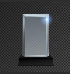 Acrylic trophy glass transparent realistic award vector
