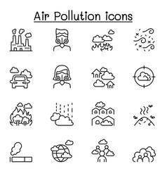 Air pollution virus disease icon set in thin vector
