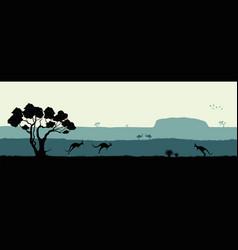 Australian landscape black silhouette vector