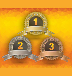 awards on yellow background vector image