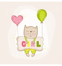 Baby girl cat with balloons - shower card vector