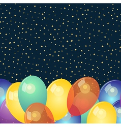 Background with colorful balloons and stars vector image