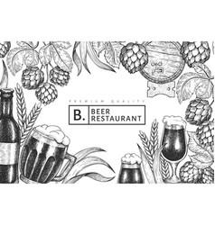 Beer glass mug and hop design template hand drawn vector