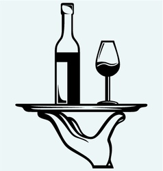 Bottle of wine with a glass on a tray vector