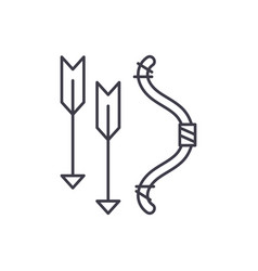 bow and arrows line icon concept bow and arrows vector image