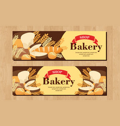 Bread buns banner loaves in a round for bakery vector