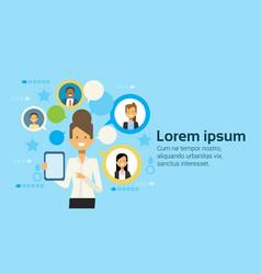Businesswoman using tablet computer messaging vector
