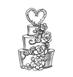Cake decorated flowers and heart on top ink vector
