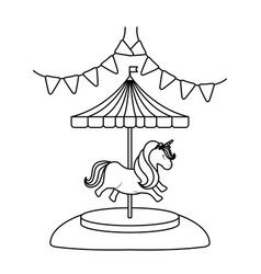 Carousel with unicorn and garlands hanging vector