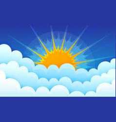 Cartoon clouds with sun on blue sky cumulus vector