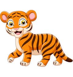 Cartoon funny baby tiger vector