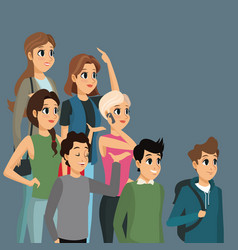Cartoon group people casual design vector