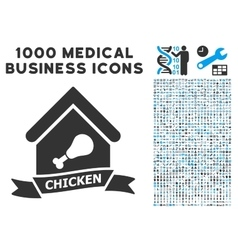 Chicken Cafe Icon with 1000 Medical Business vector