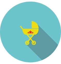 children icon Yellow baby carriage vector image