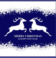 christmas card with snowflakes and deer vector image