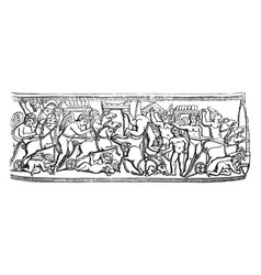 circus an ancient bas relief vintage engraving vector image