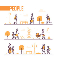City life - set of line design style elements vector