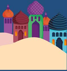 cityscape arabian towers sand desert vector image