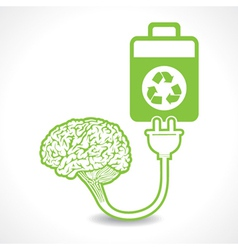 creative brain Idea symbol charged by eco batterY vector image