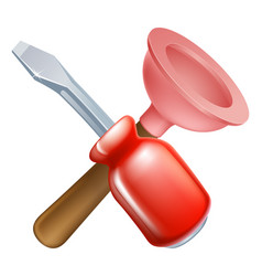 crossed plunger and screwdriver tools vector image