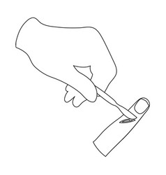 cut the finger with a surgical scalpel surgery vector image