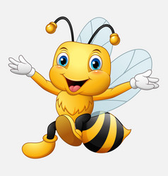 cute bee cartoon waving hand vector image
